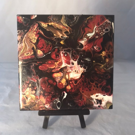 Red  Gold Black Hand Painting Ceramic Tile Coaster Trivet Painted Artisan Made Gift Idea