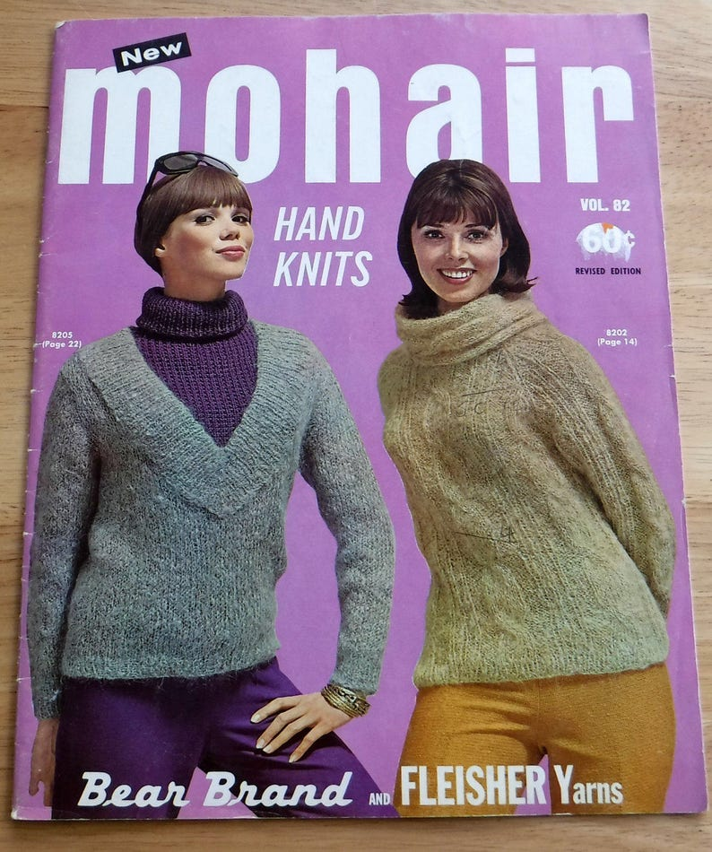 Fleisher Bear Brand Mohair Hand Knits 1964 Vintage Sweaters Etsy