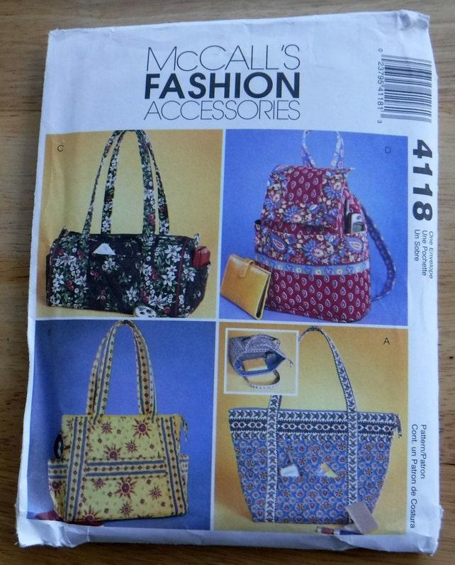 Handbag Bag Sewing Pattern Purse Pattern Mccalls Uncut Hand Etsy