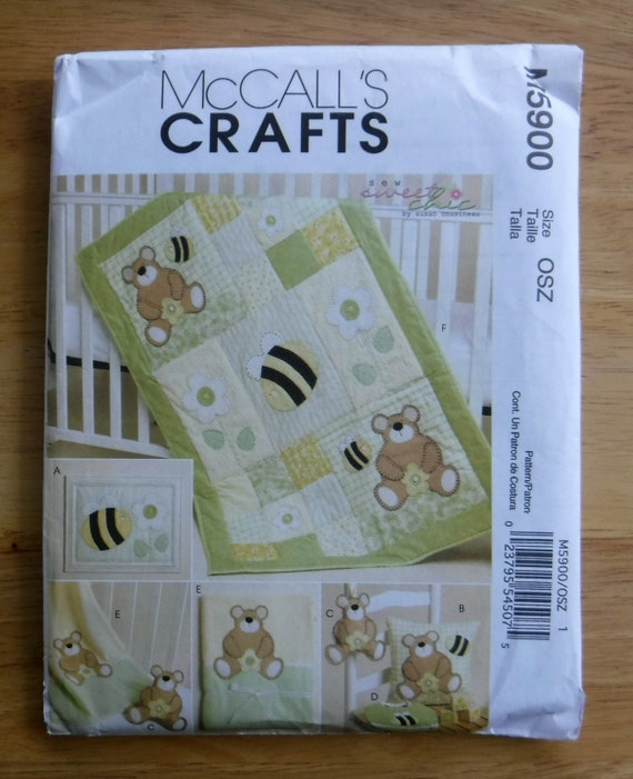 McCalls baby quilt blanket sewing pattern, child pillow sewing pattern, uncut bear football toddler quilt blanket bedroom nursery decoration