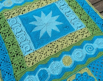 "DecoGhan - Original Crochet Afghan pattern by Julie Yeager .  50"" x 70"" Worsted/Aran Weight"
