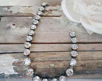 PRIMA DONNA* COLLECTION Diva - Genuine Swarovski Crystal & Moonlight Necklace, Bridal, Phantom of the Opera, Formal, Great Gatsby