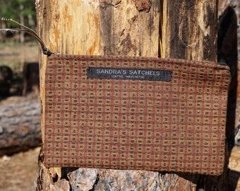 Brick Rust  Makeup Case, Accessory Bag, Cosmetic bag, Toiletry Bag, Handmade