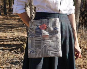 Sand City Design Large Shoulder Bag, Crossbody Bag, Shoulder Purse, Crossbody Purse, Everyday Bag on a Cord