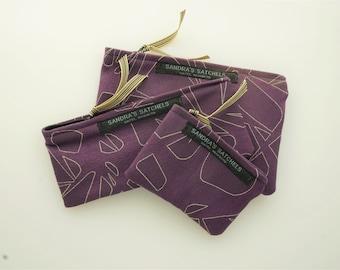 Trio Purple Star Zipper Coin Case, Makeup Case and Glasses Case, Handbag Accessories Collection