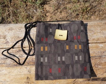 Brown Ribbon with Red and Gold Medium Shoulder Bag, Crossbody Bag, Shoulder Purse, Crossbody Purse, Everyday Bag, Smart and Casual Bag