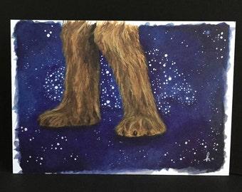 CHEWBACCA faerie tale feet mini luxe print star wars card artist-quality mini print chewy fuzzball han solo