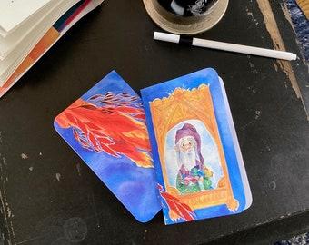 DUMBLEDORE FAWKES phoenix mirror of erised mini pocket journal halthegal potterverse journal writers notebook idea journal fan art