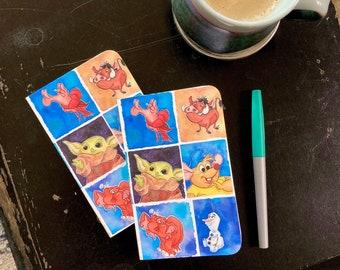 DISNEY SIDEKICK BFF mini pocket journal halthegal disney watercolor fan art writers notebook the child tantor gus gus olaf stitch baymax