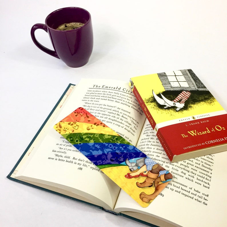 OZ bookmark faerie tale feet yellow brick road technicolor story art  rainbow bookmark bookish tin man cowardly lion toto too rainbow