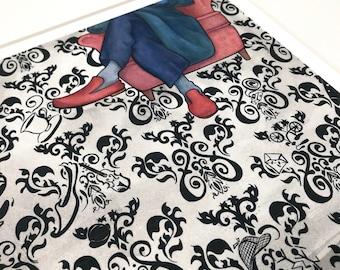 "SHERLOCK ""the game is afoot."" faerie tale feet limited edition archival art print signed by artist 221b baker street sherlock art"
