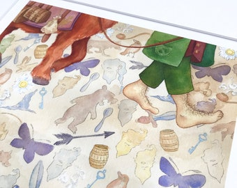 """HOBBIT """"back again."""" bilbo baggins faerie tale feet print inspired by j.r.r. tolkien's middle earth book signed limited edition art print"""