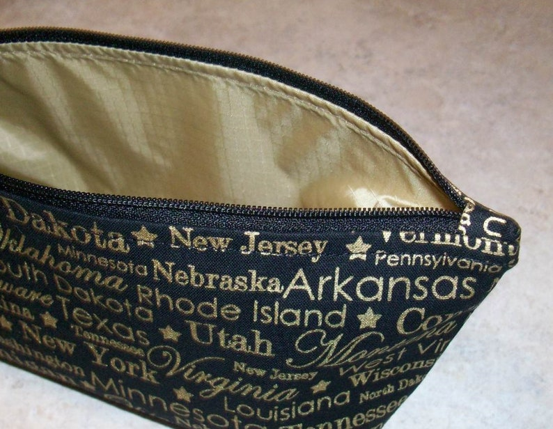 Black with Gold States Set of 2 Wedge Pouches