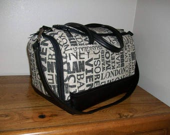 Underseat Boarding Bag - World Cities/Black Leather