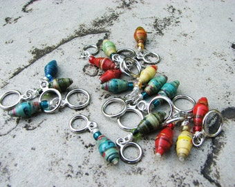 Non-Snag Stitch Markers with Change For Children Uganda Paper Beads