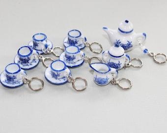 Tiny Blue and White China Tea Set Non-Snag Stitch Markers