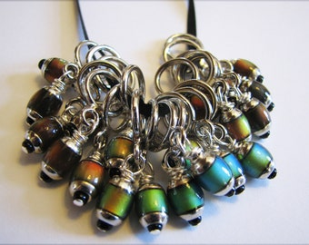Mood Bead Non-Snag Stitch Markers with 6 x 9 mm Mirage Beads