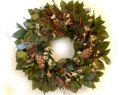 Oregon Christmas red green white dried flower wreath