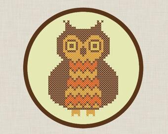 Chevron Owl Cross Stitch PDF Pattern