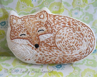 Hand Embroidered Fox Pillow Made to Order