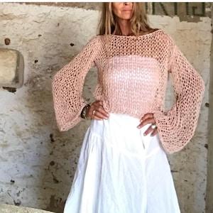 White crop to beach sweater beach wear ivory crop sweater | Etsy