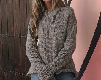 Alpaca Beige sweater slouchy over-sized, with extra long sleeves, pullover, hand knit sustainable and ethically made
