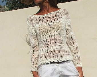 496a6f0359b598 white sweater White cotton mix loose knit stripe sweater summer sweater