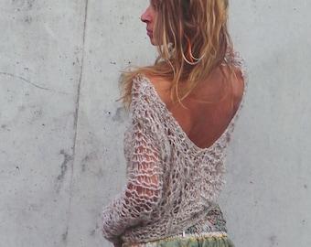 7fb557840e5e beige backless Sweater women s boho v.neck loose knit top