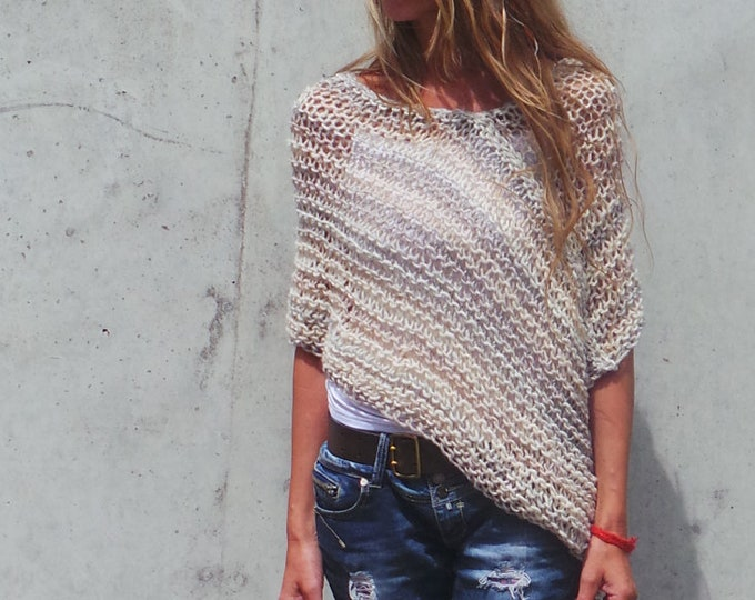beige ombre stripe poncho. hand knit women's cover up