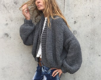 gray Bomber jacket chunky knit sweater  hand knit women's cardigan women's sweater, sustainable and ethically made