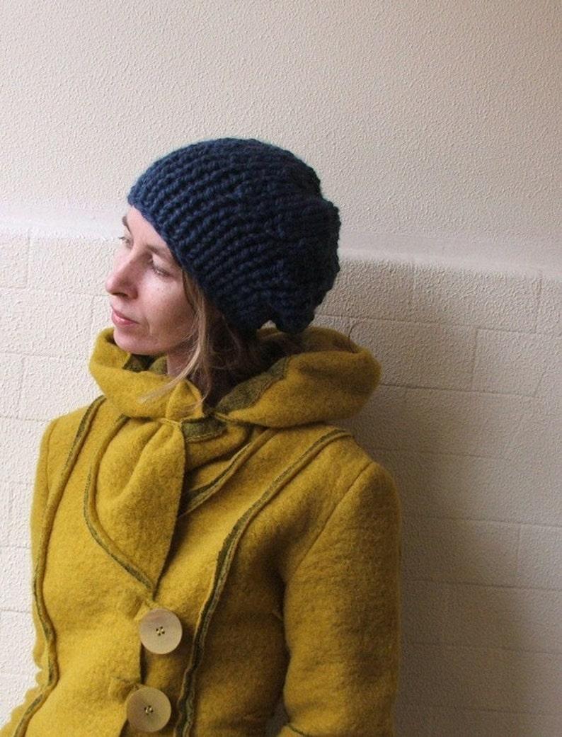 blue beanie hat blue knit hat slouchy,hand knit hat Denim blue chunkier hat vegan friendly