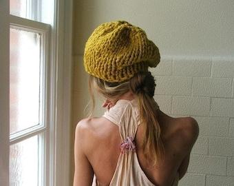 Mustard Yellow chunky knit hat beanie vegan, other shades green, black, brown, beige, blue, gray, orange