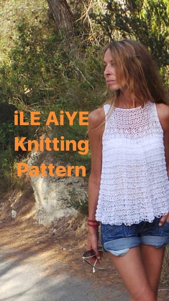 Knitting Pattern Tank Top Loose Knit Blouse Tunic Cotton Etsy