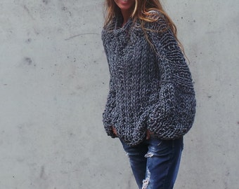 Gray sweater Women's gray chunky over sized sweater  chunky slouchy sweater gray sweater