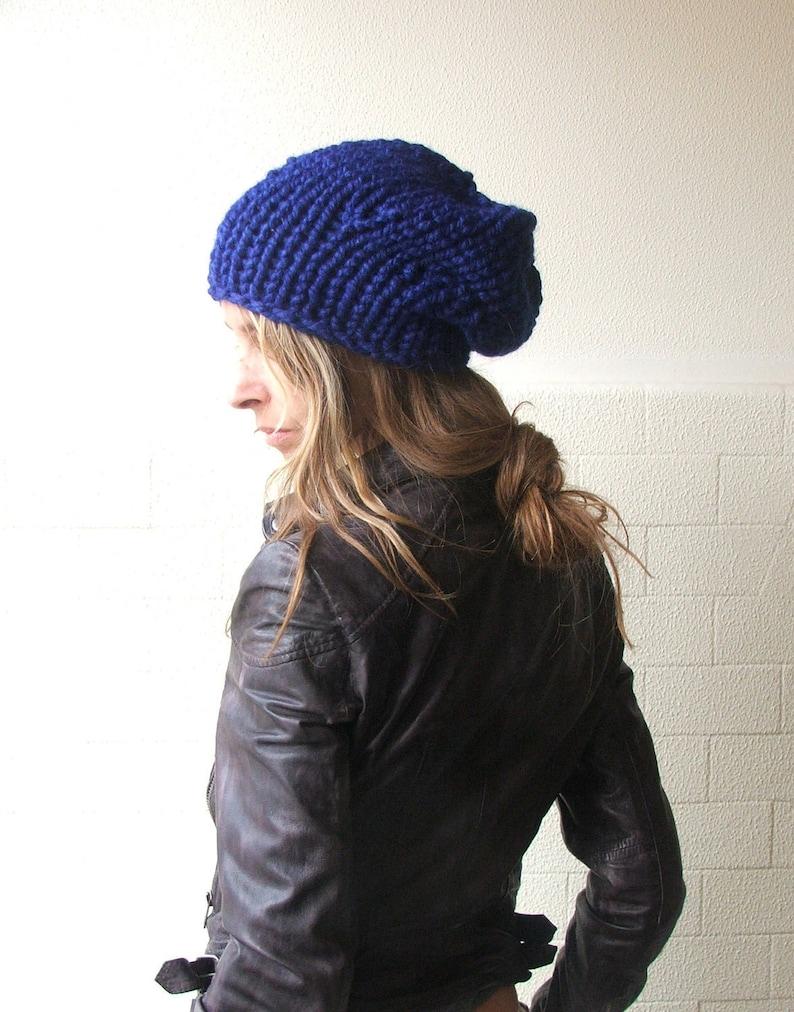 d32e7e81a4f Blue hat beanie chunky hat Electric sapphire blue hat