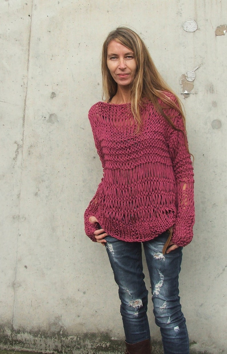 e7a79ee1f89e Dusky Dark Pink ECO cotton   loose knit   grunge sweater