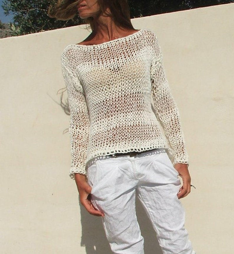 8b028882c4c6 white sweater White cotton mix loose knit stripe sweater summer sweater