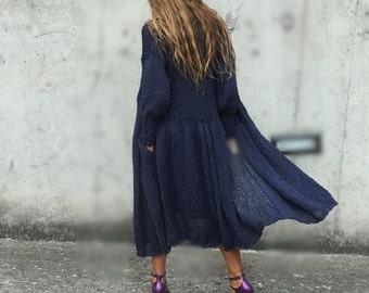 blue sweater, swing coat, blue knitted coat, long sweater
