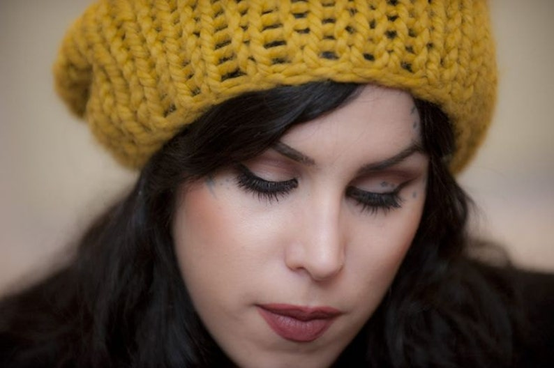 Yellow chunky knit hat Mustard Yellow beanie hand knit vegan slouch golden Yellow