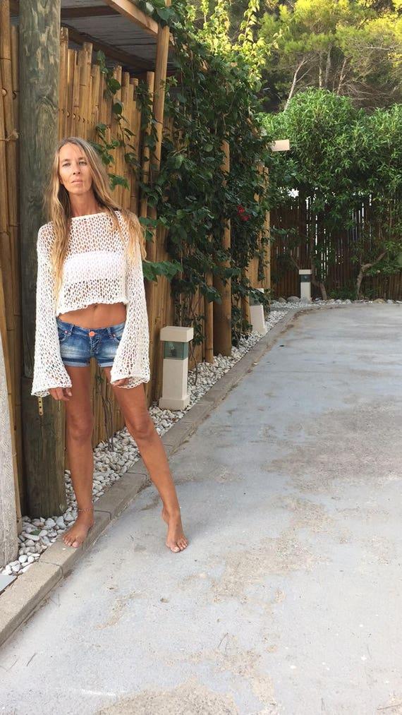 white crop to, beach sweater beach wear, ivory crop sweater, summer loose knit wide sleeve alpaca mix, yoga ballet dance top