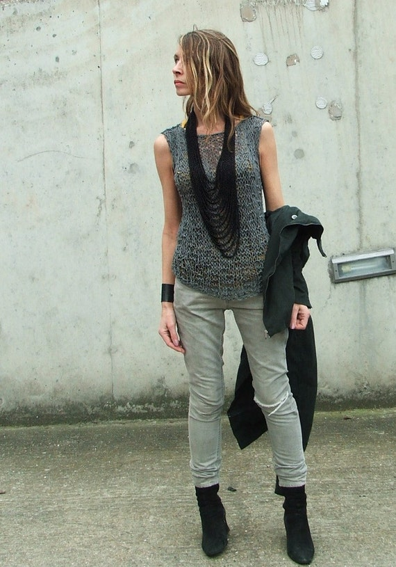 7a0da1e84cb1 Grey vest cotton mix summer tank lightweight and loose knit