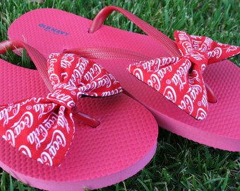 f07e95f85ac8 Coca Cola Coke inspired Flip Flop Sandals Licensed fabric handmade to your  shoe size