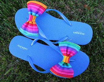 e79b96069c1d Rainbow Flip Flop Sandals Licensed fabric handmade to your shoe size
