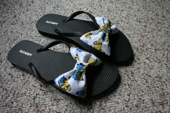 d2ad5b71a285 Minions Flip Flop Sandals fabric handmade to your shoe size
