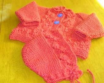 2fe8a2627 Hand knitted baby sweater and bonnet, infant sweater set, knit baby  clothes, shower gift
