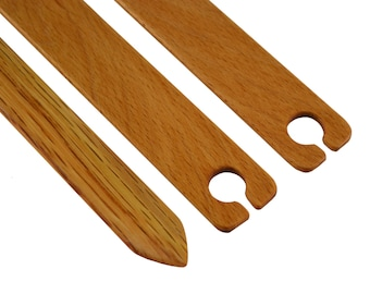 """6"""" Weaving Shuttle 3pc Set - Includes 2 Stick Shuttles / Flat Shuttles & 1 Pick Up Stick - Handcrafted from Red Oak"""