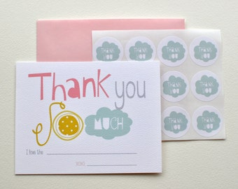Easy Peasy Thank You notes for Kids with stickers - in Pink