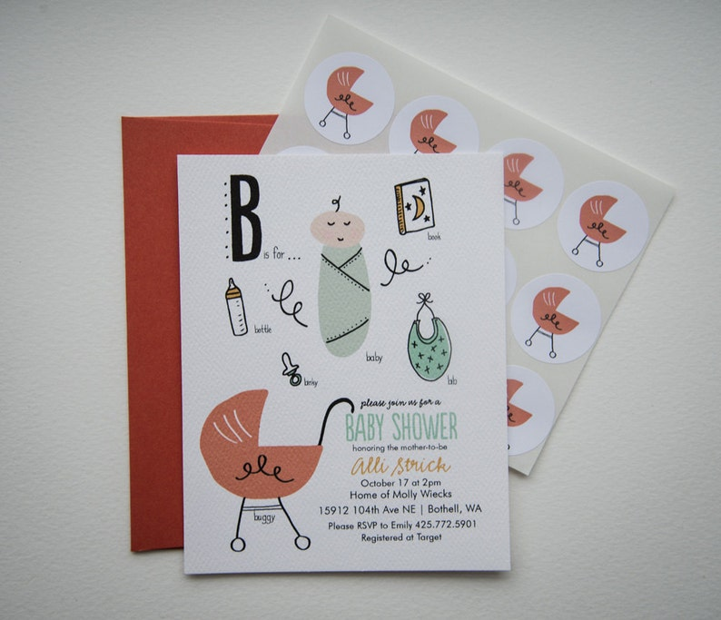 Baby Dictionary Baby Shower Invitation Set With Stickers Etsy