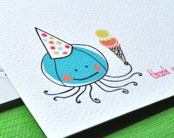 Octopus Thank You Cards or Personalized Stationery plus Stickers Set