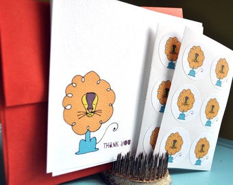 Happy Little Lion Personalized Stationery Gift Set with Stickers